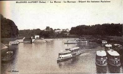 Maisons Alfort (seine). La Marne . Le barrage. Départ des bateaux parisiens