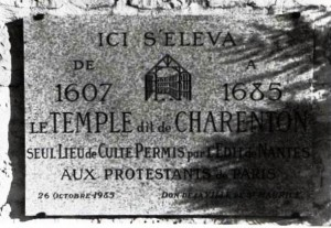 plaque commémorative du temple de Charenton