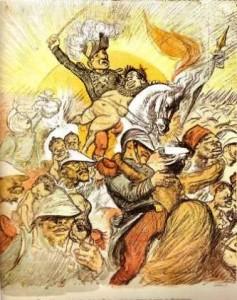 """""""Le vainqueur des Hovas*  fait sa rentrée triomphale à Paris portant en croupe la reine de Madagascar"""" (Ranavalona 3)]"""