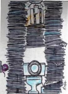 """problème d'archivage du journal """"Le Monde"""". Dessin © Claude Razanajao"""