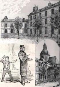 Cour du  lycée Charlemagne et église Saint-Paul à la fin du 19e siècle