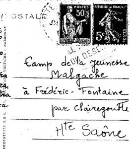 La carte postale envoyée par un absent  au cam de jeunesse malgache