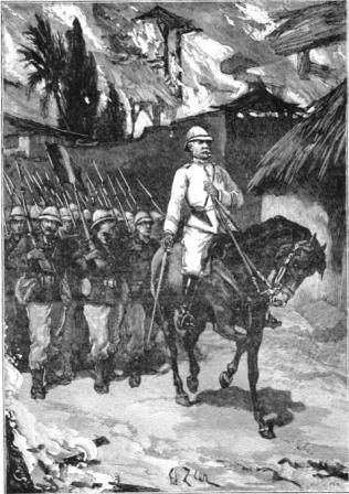 Troupes coloniales entrant dans Abomey en flammes