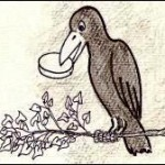 Corbeau tenant dans son bec un fromage
