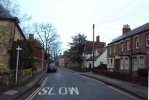 Une rue de Headington (Oxford) en hiver