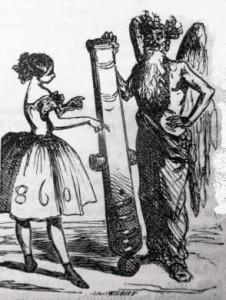 -Papa Saturne, nous n'avons donc plus notre faux ? - Ma foi, non ! Je l'ai remplacée par un canon rayé ; l'ouvrage elle va plus vite - Dessin de Cham (1860)