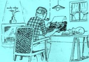 écrivain au travail
