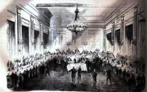 Banquet  offert par la Compagnie du Canal de Suez aux délégués du commerce de tous les pays, à Alexandrie (6 avril) (collection particulière).