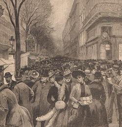 foule sur un  boulevard parisien le jour des étrennes