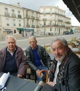 Quand des anciens bibliothécaires se retrouvrent...: JDominique Chailley acques Roumegas, Claude Razanajao, - Montpellier 18 février 2019