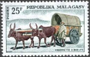 charrette à  bœufs  timbre-poste